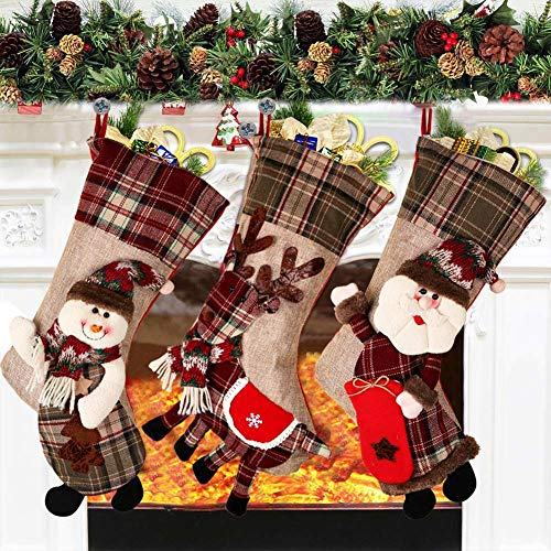 """PartyTalk 18"""" Large 3D Classic Christmas Stockings Set of 3 Plaid Christmas Stockings with Cute Santa, Snowman and Reindeer for Christmas Hanging Decorations"""