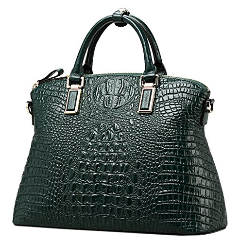 Womens Shoulder SAIERLONG Dark Designer Genuine Cowhide Dark green Bags green Ladies Leather Handbags OBBEHwqz