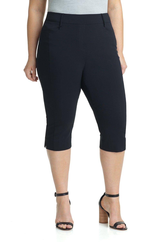 Rekucci Women's Ease in to Comfort Curvy Fit Plus Size Capri w/Tummy Control (24W,Black)