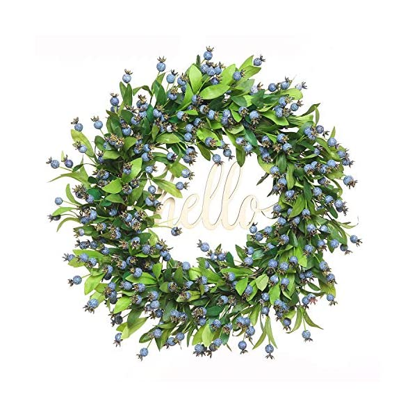 FAVOWREATH 2019 Vitality Series FAVO-W170 Handmade 18 inch Hello Letter,Blueberry,Multi Flowers,Berry,Leaf Grapevine Wreath Summer/Fall Front Door/Wall/Fireplace Floral Hanger Home Every Day Decor