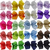 """QingHan 4.5"""" Hair Bow Clips Grosgrain Ribbon Boutique bows For Girls Babies Teens Kids Toddlers Pack Of 20"""