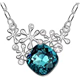 MARENJA Crystal--Snowflake&Square Pendant Blue Green Austrian Crystal Necklace For Women White Gold Plated Length 40-45cm/15.7-17.7in