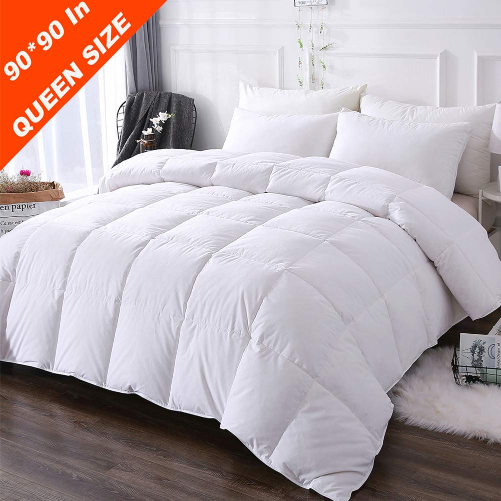 DOWNCOOL 100% Cotton Quilted Down Comforter with Corner Tabs - White Goose Duck Down Feather Filling - Lightweight and Medium Warmth Box Stitched All-Season Duvet Insert - Queen/Full