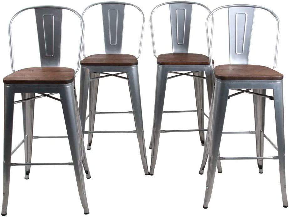 Stackable for Indoor//Outdoor 18 Dining Chair Black HAOBO Home Modern Industrial Metal Stool Set of 4