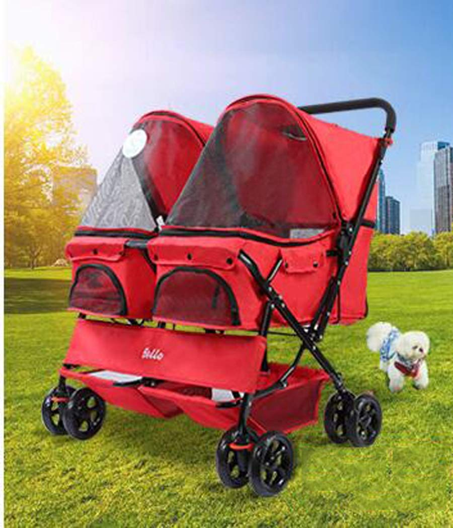 Red Zll Double Pet Stroller Puppy Pram Dog Travel Pushchair Pets carrier Outdoor Jogger Foldable 4 Wheels Trolley max loading 20 kg,red