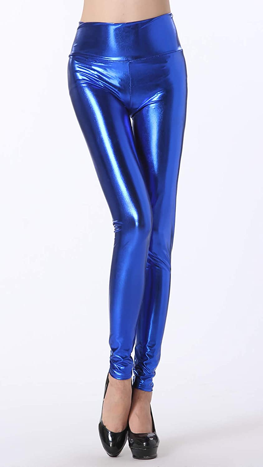 157a3ee9fa227 Amazon.com: Xinsy Womens Sexy Blue Faux Leather Leggings Pants High ...