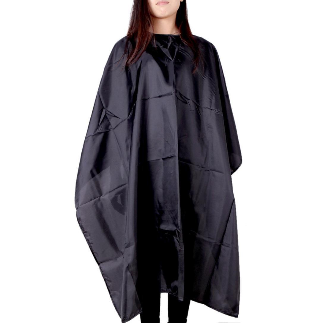 Doinshop Hair Cut Hairdressing Cape Cloth Apron Salon Barber Gown Waterproof (Black | 140 cm)