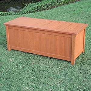 MD Group Patio Storage Box Royal Tahiti Yellow Balau Hard Wood Outdoor Trunk Garden Bench