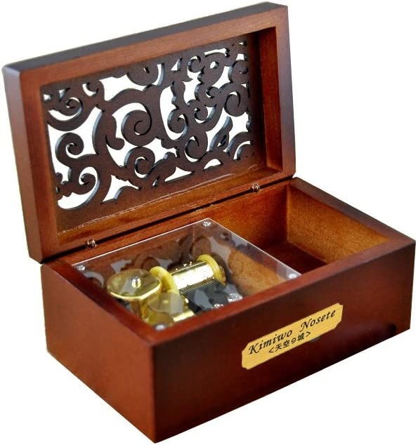 Youtang Music Box Creative Hollow Cover 18-note Clockwork Wooden Musical Box,Musical Toys,Play City of Stars Gold Movement