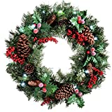 Natural Pine Cone & Berry Decorated Pre-Lit Wreath Christmas Decoration Illuminated with 20 Cool White LED Lights - Size 60cm
