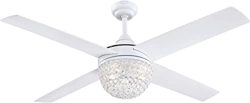 Westinghouse Lighting 7226200 Kelcie, Contemporary LED Ceiling Fan with Light and Remote Control, 52 Inch, White Finish, Crystal Jewel Shade