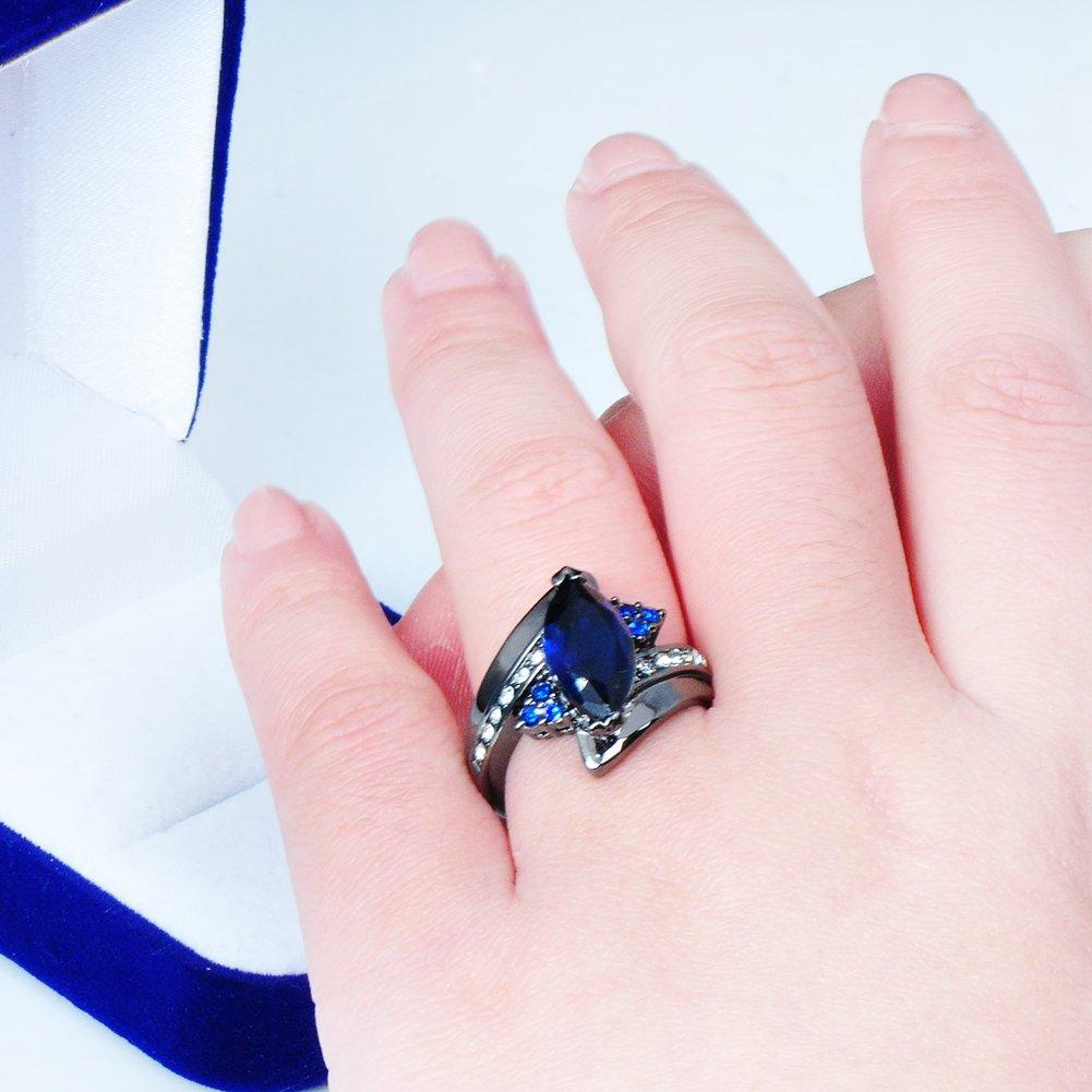 Amazon.com: Rongxing Jewelry® Blue Sapphire Zircon Women\'s Finger ...