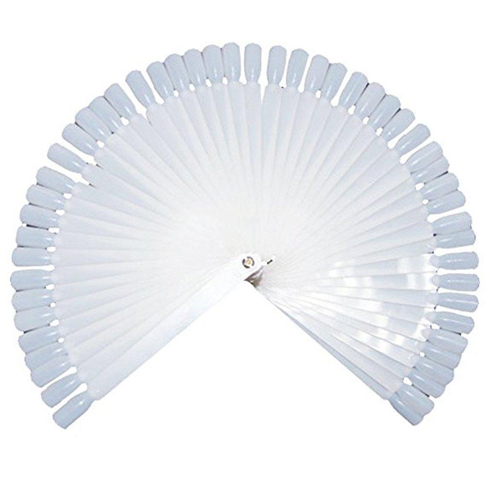 Nail Art Polish Board Tips 50 False Display Practice Sticks Fan-Shaped Tool Kit (Milky 2) Qiqilei MFSUT311195