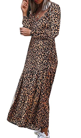 aab03b33ab GenericWomen Casual V-Neck Leopard Print Long Sleeve Ruffle Flared Party Maxi  Dress at Amazon Women's Clothing store:
