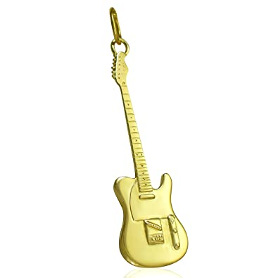 Solid 9ct gold fender telecaster electric guitar pendant for solid 9ct gold fender telecaster electric guitar pendant for necklace jewellery gift pendant only aloadofball Choice Image