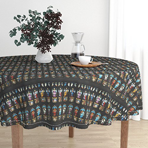 Round Tablecloth - Brontes Haworth England Church Stained Glass Window Saints by Peacoquettedesigns - Cotton Sateen Tablecloth 90in
