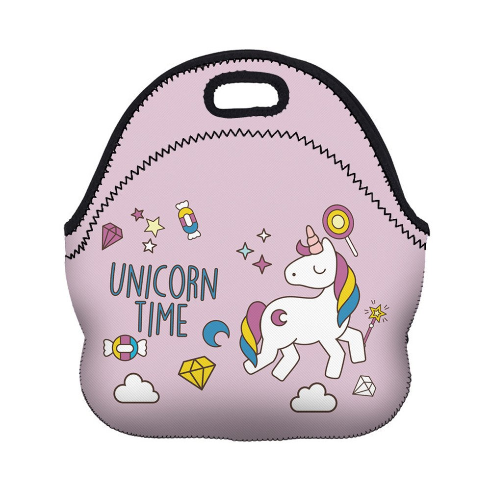 Flybuild® Children Kids Lunch Bag Thermal Insulated Cooler Cartoon Unicorn Print Zipper Tote Bag School Travel Picnic Nursery Food Holder