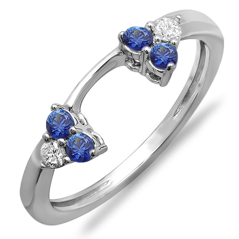 Dazzlingrock Collection 14K White Diamond & Blue Sapphire Wedding Ring Matching Guard Band, White Gold, Size 7