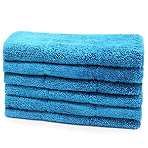 Microfiber Cleaning Cloth 6pc Pack Bulk - Duster Rag Sponge for Car Wash Auto Care Thick Large for Glasses Kitchen Dish(blue)