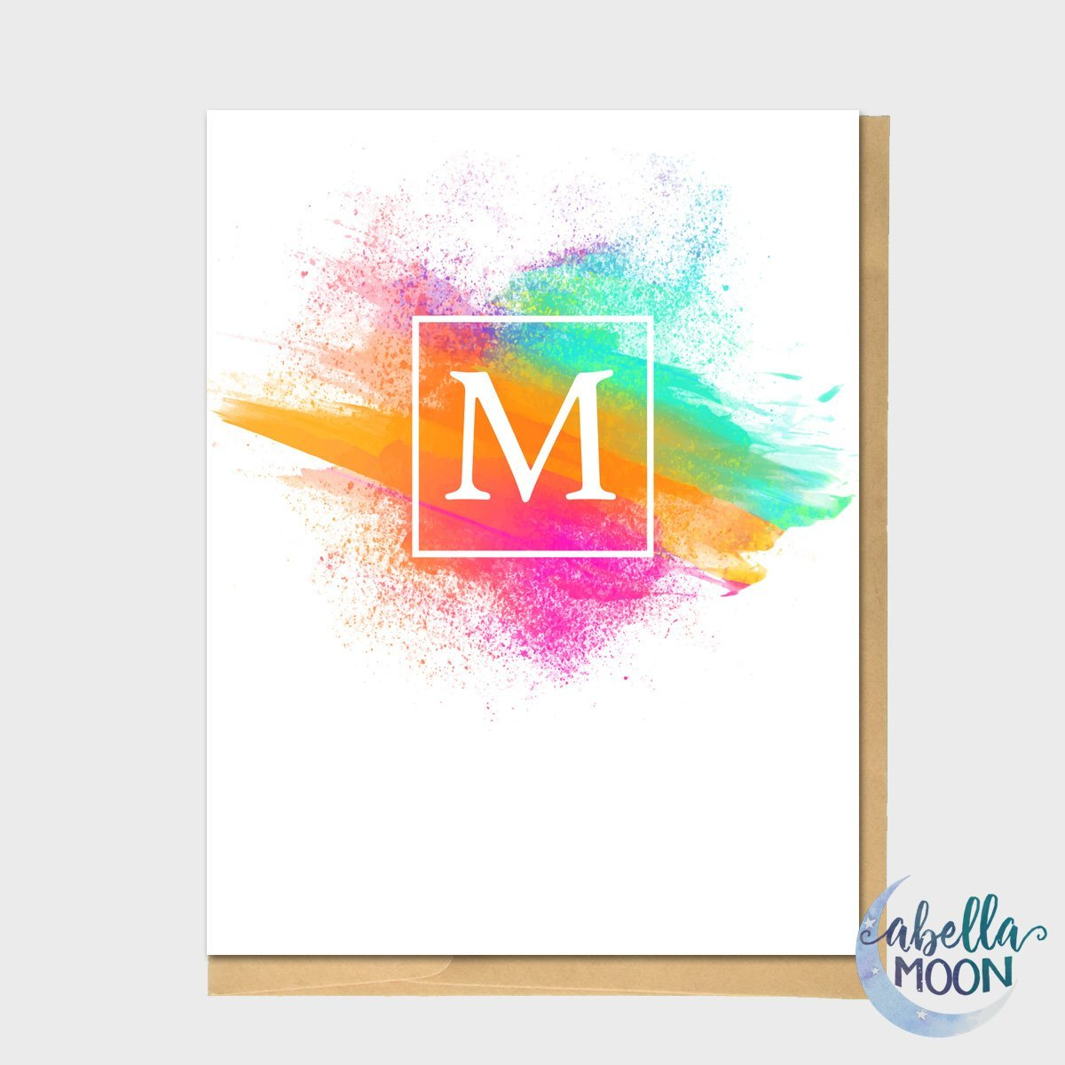 Set of 10 Monogram Neon Watercolor Color Splash Note Cards - Single Initial, Single Letter, Thank You Card, Thank You Notes, Monogram Gift, Birthday Gift