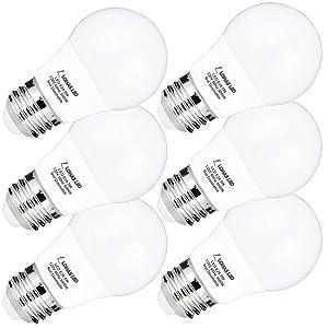 A15 LED Bulb, LOHAS A15 LED Light Bulbs 40W Equivalent(5w LEDs), Daylight(5000K), Medium Base(E26), 450lm Bright LED Lights, LED Lamps for Refrigerator/Freezer Ceiling Home Lighting, Not-Dim(6Pack)