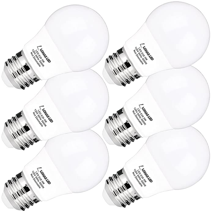 A15 LED Bulb, LOHAS A15 LED Light Bulbs 40W Equivalent(5w LEDs), Daylight(5000K), Medium Base(E26), 450lm Bright LED Lights, LED Lamps for Refrigerator/Freezer Ceiling Home Lighting, Not-Dim(6Pack)