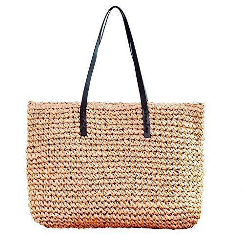 Chaufly 2018 nueva bolsa de asas de paja simple bolso bohemio de playa bolsa de asas de vacaciones de verano Light Brown