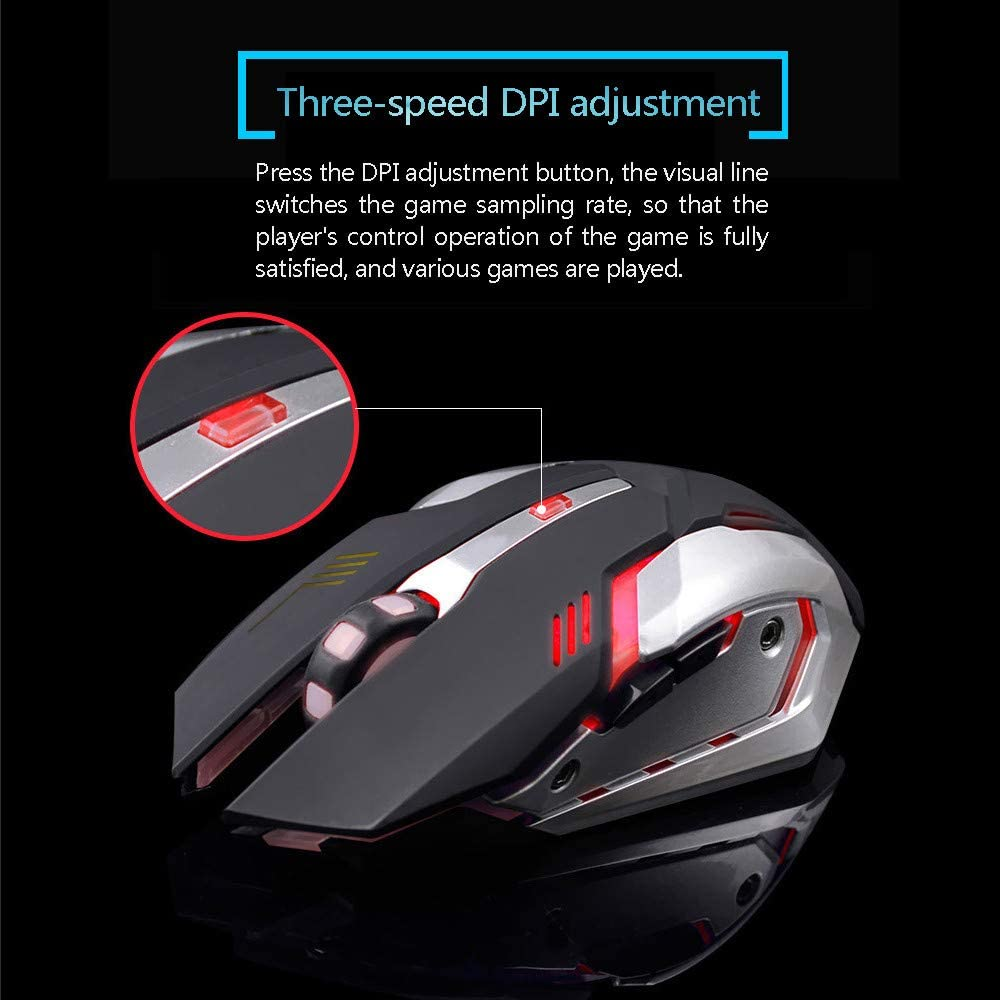 Rechargeable X7 Wireless Silent LED Backlit USB Optical Ergonomic Mouse(Shipped from US) PIKAJIU Wireless Gaming Mouse