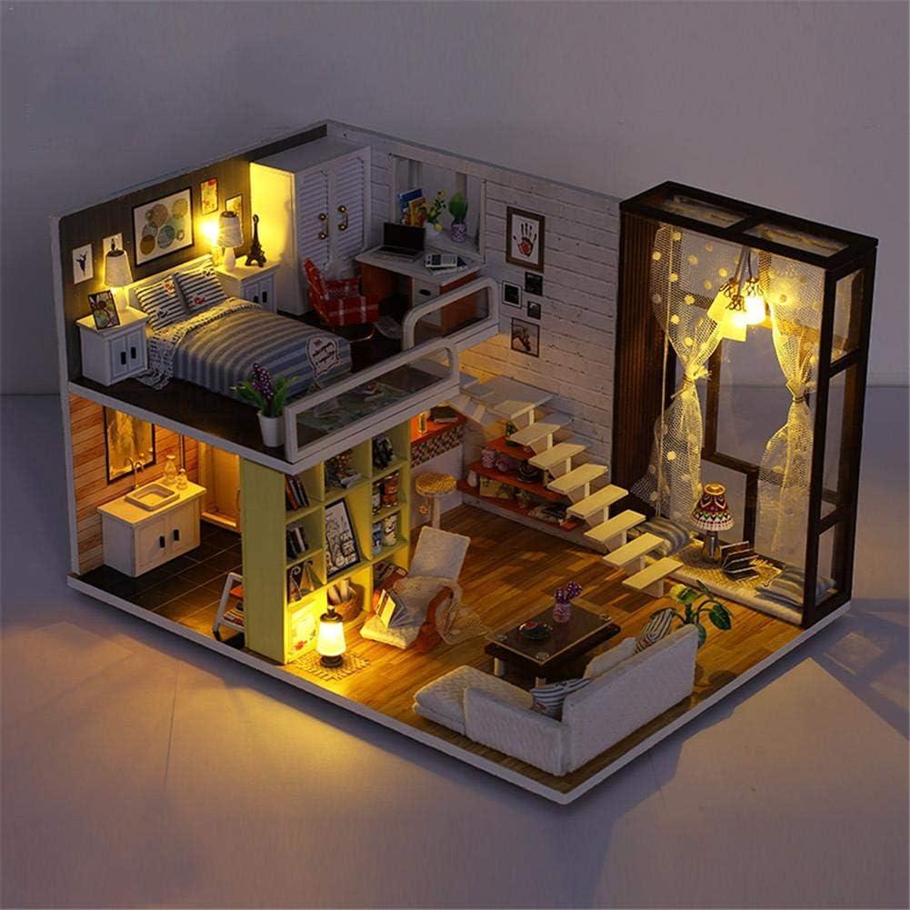 Godbless Puppenhaus DIY Mit LED Licht Einfache Stadt DIY Dollhouse W/ündersch/ön Gestaltetes Modell Kreativ Weihnachts Kinder Geburtstag Spielzeug Geschenk