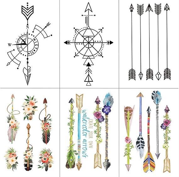 yyyDL Etiqueta engomada del tatuaje temporal Flecha de la flor ...