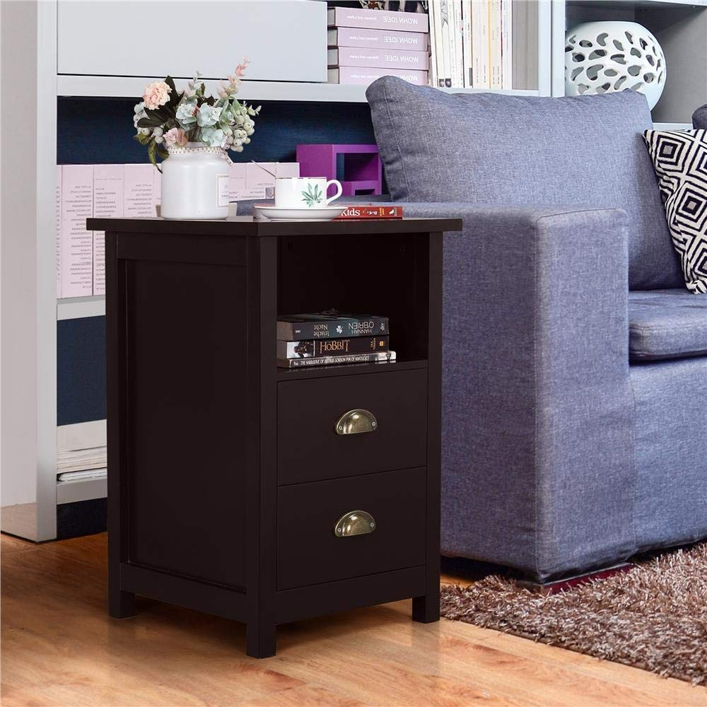 Accent Table Storage Cabinet Bedroom Espresso Yaheetech Nightstand Sofa//Bed//Chair Side End Table with 2 Drawers