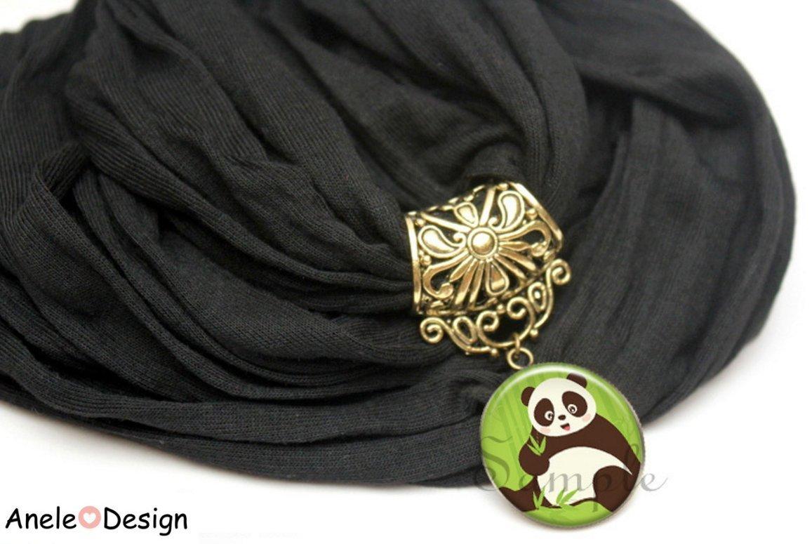 Echarpe foulard bijou noir panda bambou vert noir blanc feuille