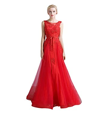 Amazon Vimans Long Red Scoop Mermaid Dress For Women Party