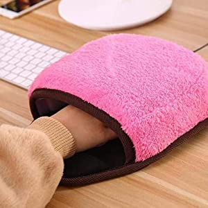 Hzemci Heated Mouse Pad - Winter USB Hand Warming Mouse Mat, Home Office Heated Mouse Mat, USB Manual Heater for Computer, Detachable Heating Element (28.5CMX22CM)