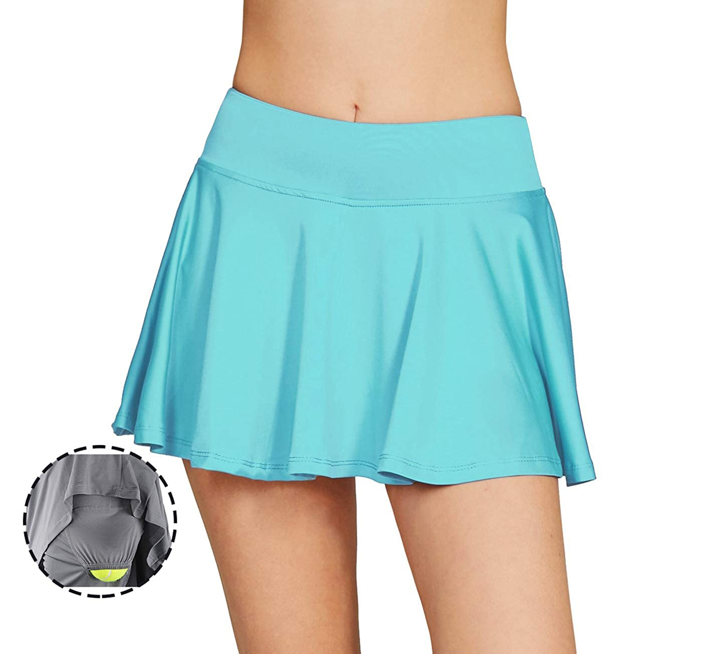 Cityoung Women's Basic Stretchy Pleated Athletic Skirt Tennis Quick Dry Active Skorts with Shorts Inner 0409hf02n-US2