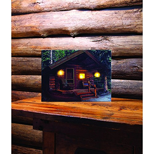 (Lighted Days End at the Cabin Lodge LED Light-Up 16 x 12 Inch Canvas Wall Plaque)