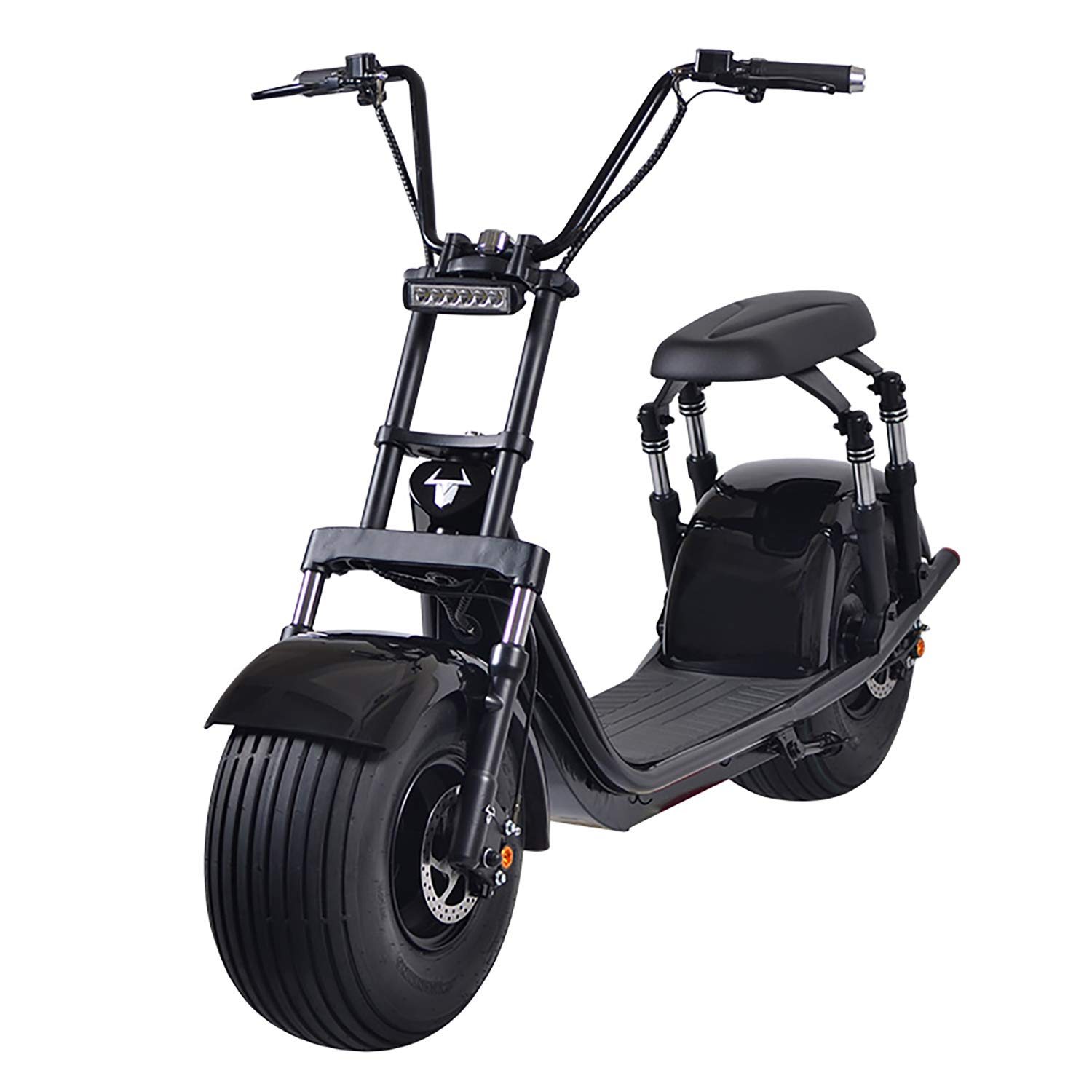 2000W Electric Moped Fat Tire Scooter with Front/Rear Shocks, Dual Disc Brakes One Button Start Electric Fat Tire Motor Bike for Adult with 2 Seats/Backrest/Cargo/Helmet,60V 21.8Ah