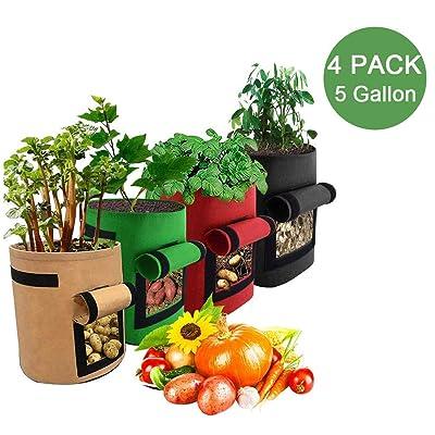 HH 4 Pack Potato Grow Bags, Garden Vegetable Planter, Breathable Plants Planting Bag, Garden Boxes with Flap and Handles for Vegetables Tomato Carrot Onion Fruits Potatoes (5 Gallon, Multicolour) : Garden & Outdoor