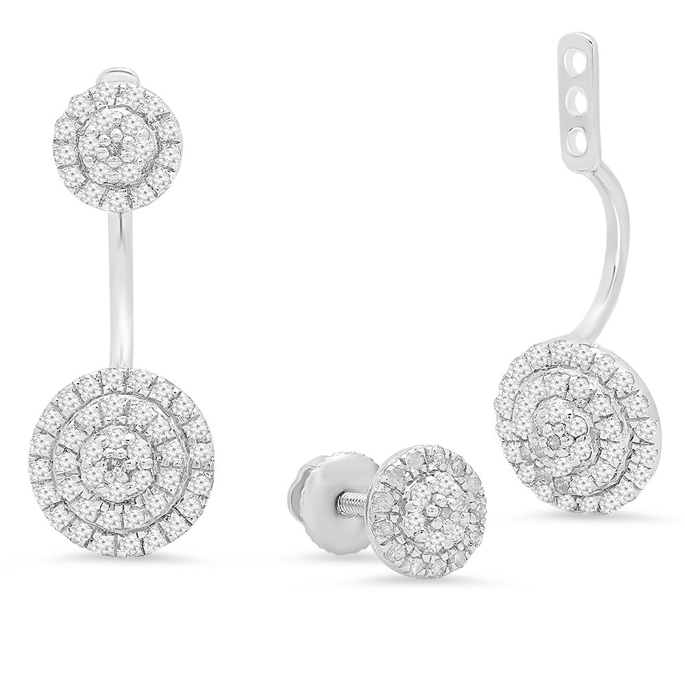 0.55 Carat (ctw) Sterling Silver Round White Diamond Ladies Stud Earrings Jackets Set 1/2 CT