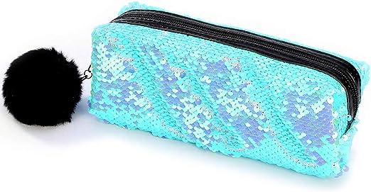 Youliy - Estuche escolar para niñas, diseño de bola de felpa reversible con lentejuelas, estuche grande para lápices y maquillaje A: Amazon.es: Hogar