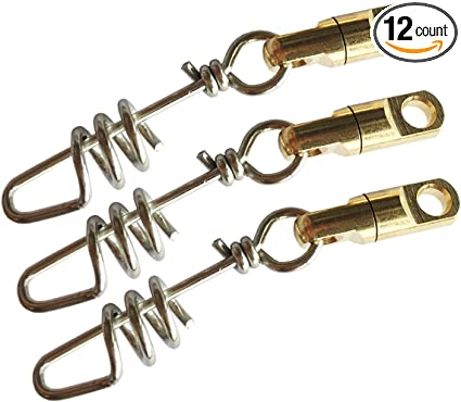 25 BRASS SNAP SWIVELS BARREL SWIVEL WITH SAFETY SNAP SIZE 12 SNAPS QUICK CLIP