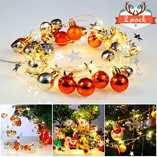 Acekid 2 Pack Christmas Bell String Lights, 40 LED Bulbs 13ft Garland Lights, Idea for Christmas, Wedding and Birthday Party Indoor Outdoor Decorations (Lighted Christmas Bells)