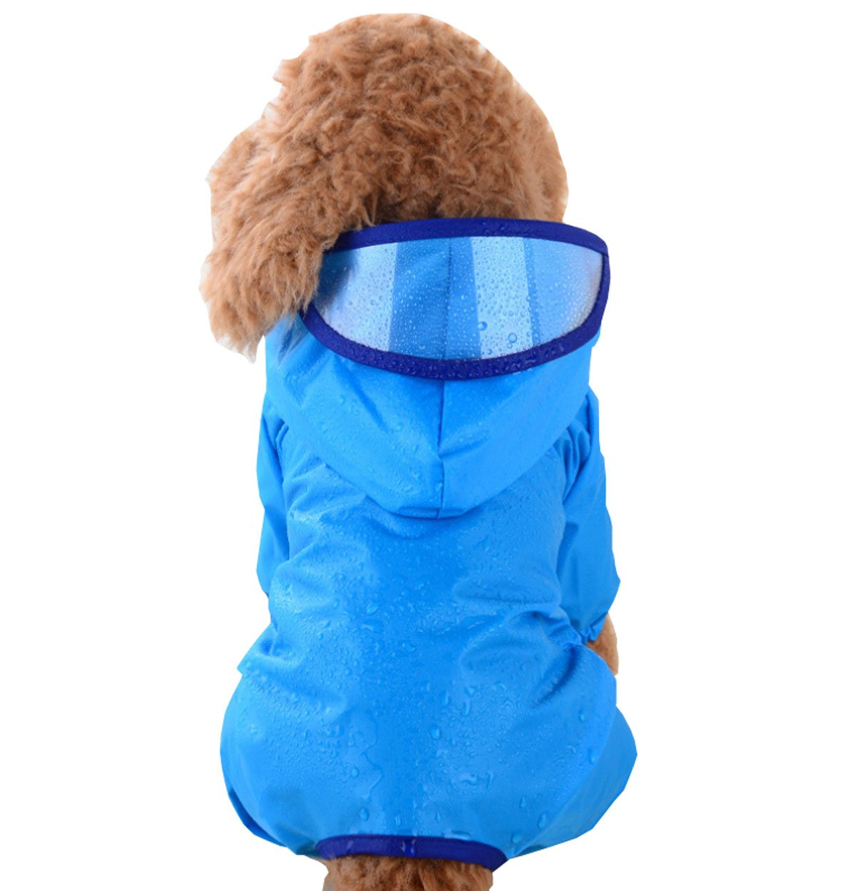 bluee M 2.5-3.5kg(Wight) bluee M 2.5-3.5kg(Wight) Sichyuan Waterproof Pet Raincoat Poncho Foldable Dog Four Feet Hoodie Raincoat 4 Sizes 4 colors Fit for Medium Large Pets.