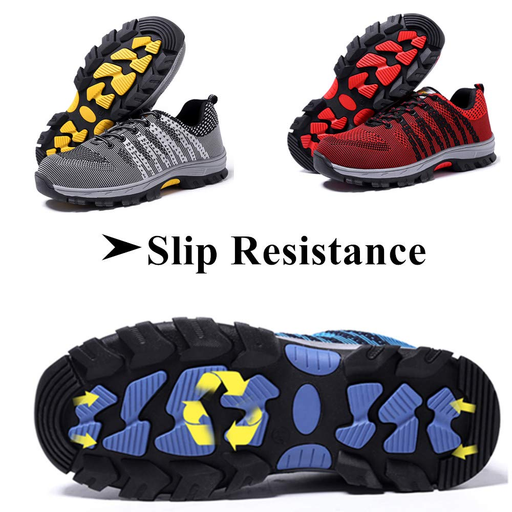 Mens Breathable Air Mesh Steel Toe Safety Shoes with Puncture Proof Midsole Slip Resistance Light Weight Work Boots by BIUHE (Image #6)