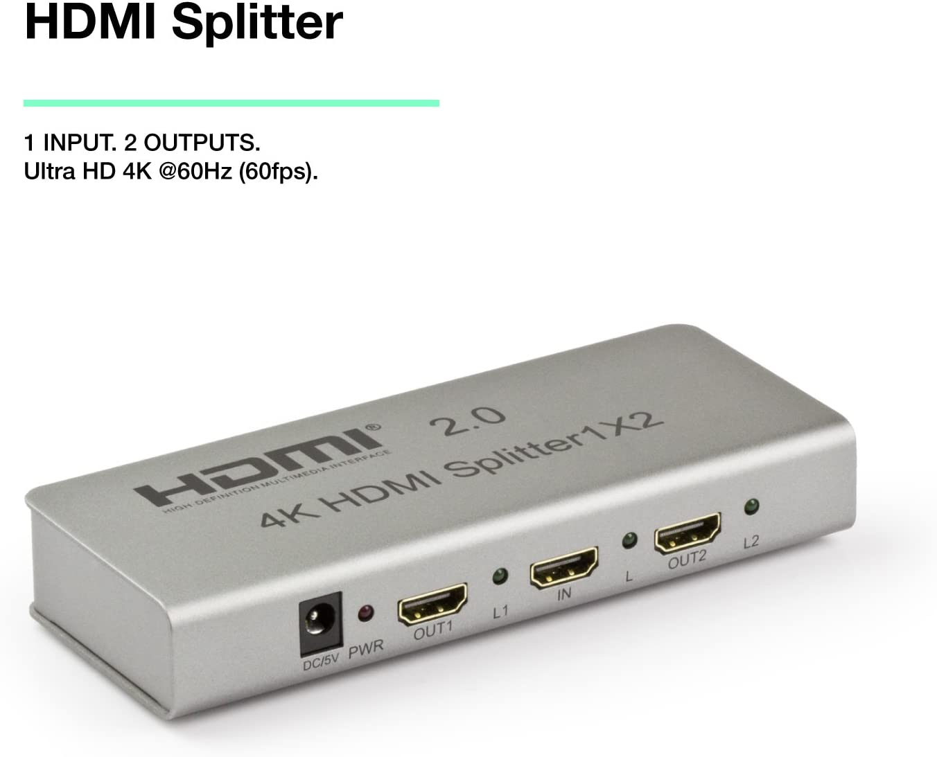 Expert Connect 1x2 HDMI Splitter | 2 Port | 1 in - 2 Out | Ultra HD 4K/2K @ 60Hz (60 fps), HDR | HDMI 2.0, HDCP 2.2 | Full HD/3D | 1080P | DTS | Digital Audio | Direct TV | 18 Gbps Bandwidth