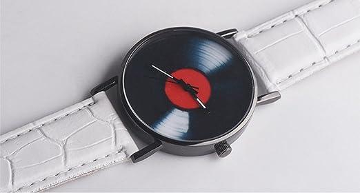 Gusspower Reloj de Pulsera de Cuarzo Analógico de Aleación de Moda Casual Unisex Correas de Cuero Banda Disco de Vinilo (Blanco): Amazon.es: Relojes