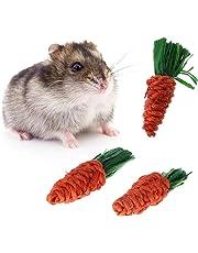 Jiamins Jouet Carotte Jouet pour Lapin Hamster Accessoire Jouet à mâcher, Lot de 3