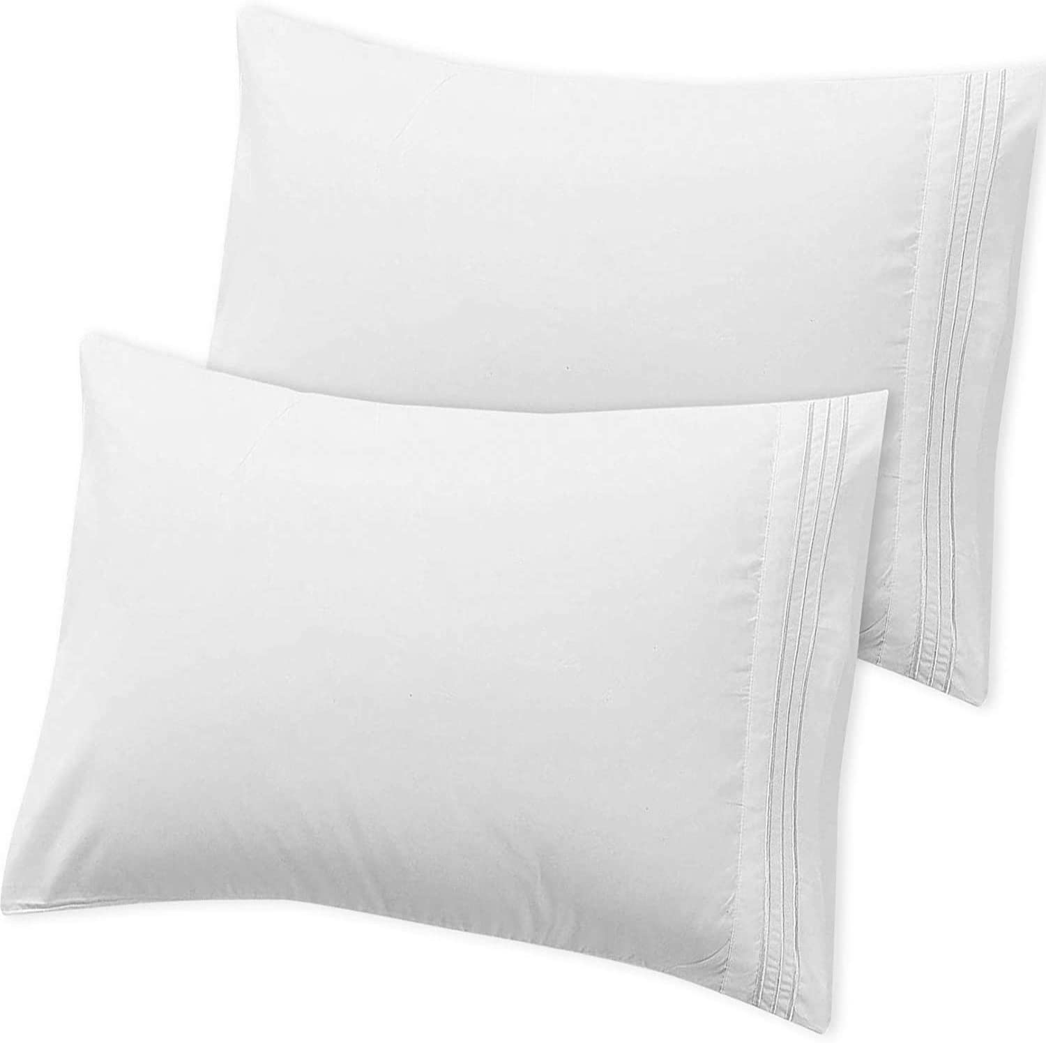 Hannah Linen White Pillowcases Set of 2 - Brushed Microfiber 1800 Thread Count Pillow Cases - Wrinkle, Shrinkage, Fade Resistant & Hypoallergenic Envelop Closure Pillow Covers (White, Queen)