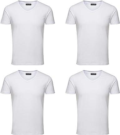 Jack & Jones - Camiseta básica para hombre (4 unidades, cuello de pico, tallas S/S Noos): Amazon.es: Ropa y accesorios