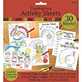 Amscan Festive Fall Thanksgiving Party Thanksgiving Activity Sheets , Paper, Pack of 31 Party Supplies